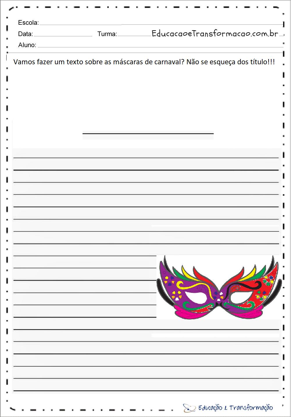 Atividades de Produção de Texto Carnaval – Máscaras