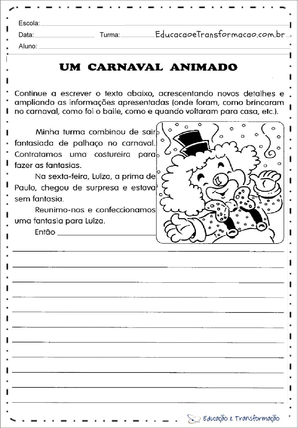 Atividades de Carnaval 2 ano