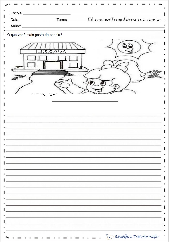 Atividades de Produção de Texto Dia da Escola