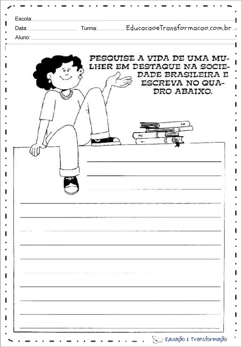 Atividades de Produção de Texto Dia da Mulher