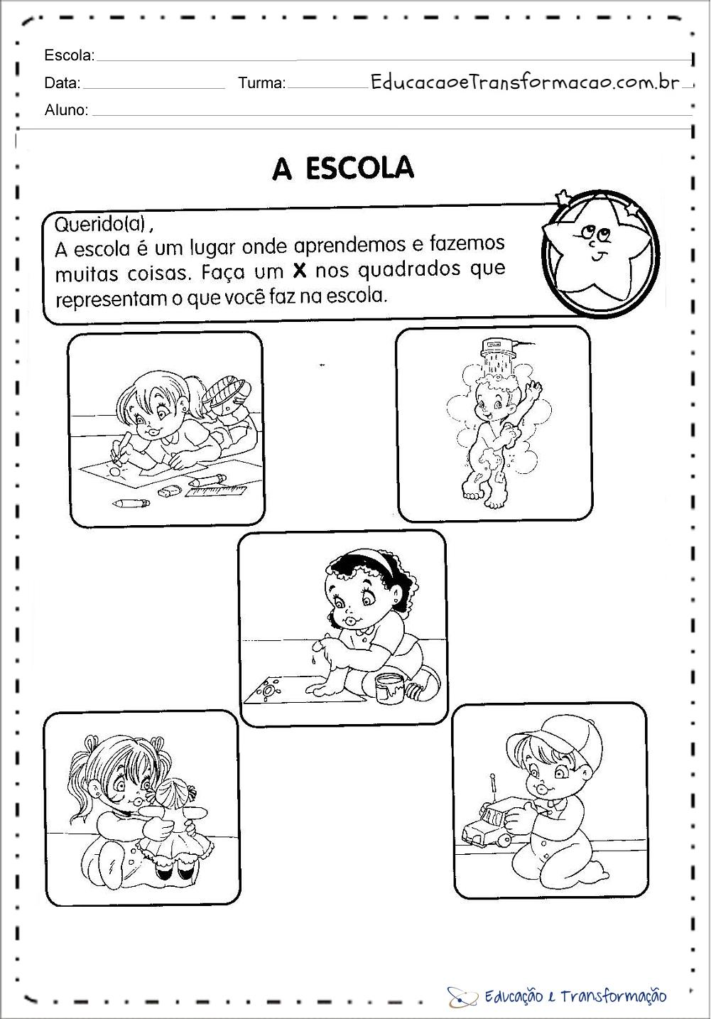 Atividades Dia da Escola para Educação Infantil