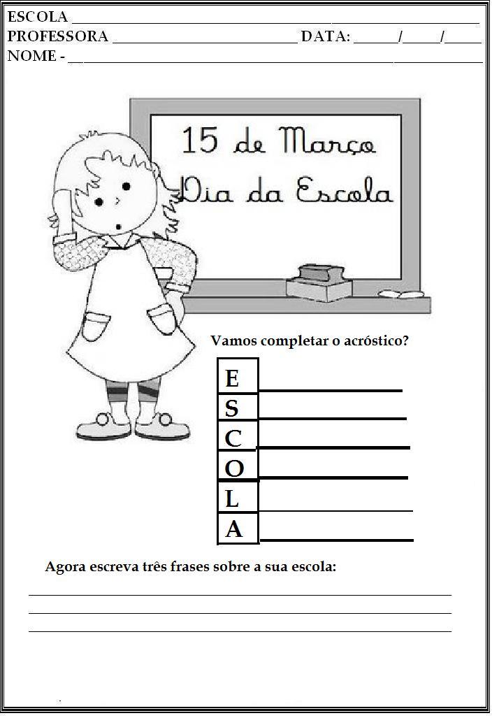 Atividades Dia da Escola para Ensino Fundamental