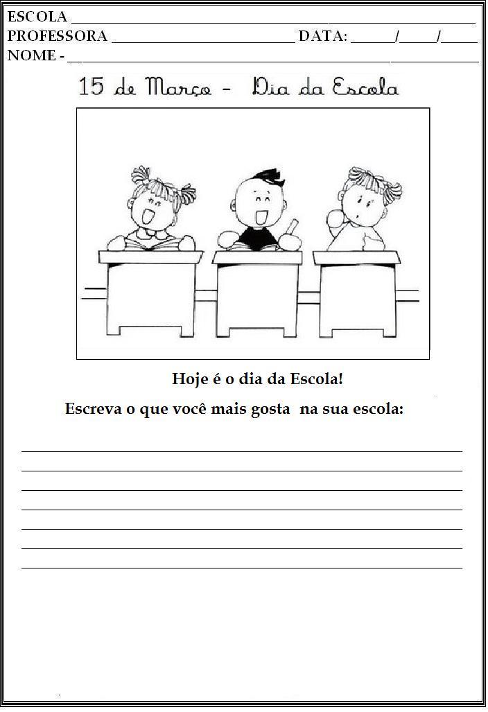Atividades Dia da Escola para Ensino Fundamental – Produção de Texto