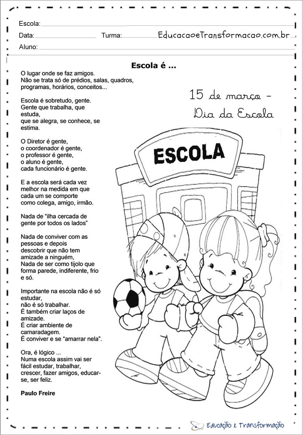 Atividades Dia da Escola – Poema