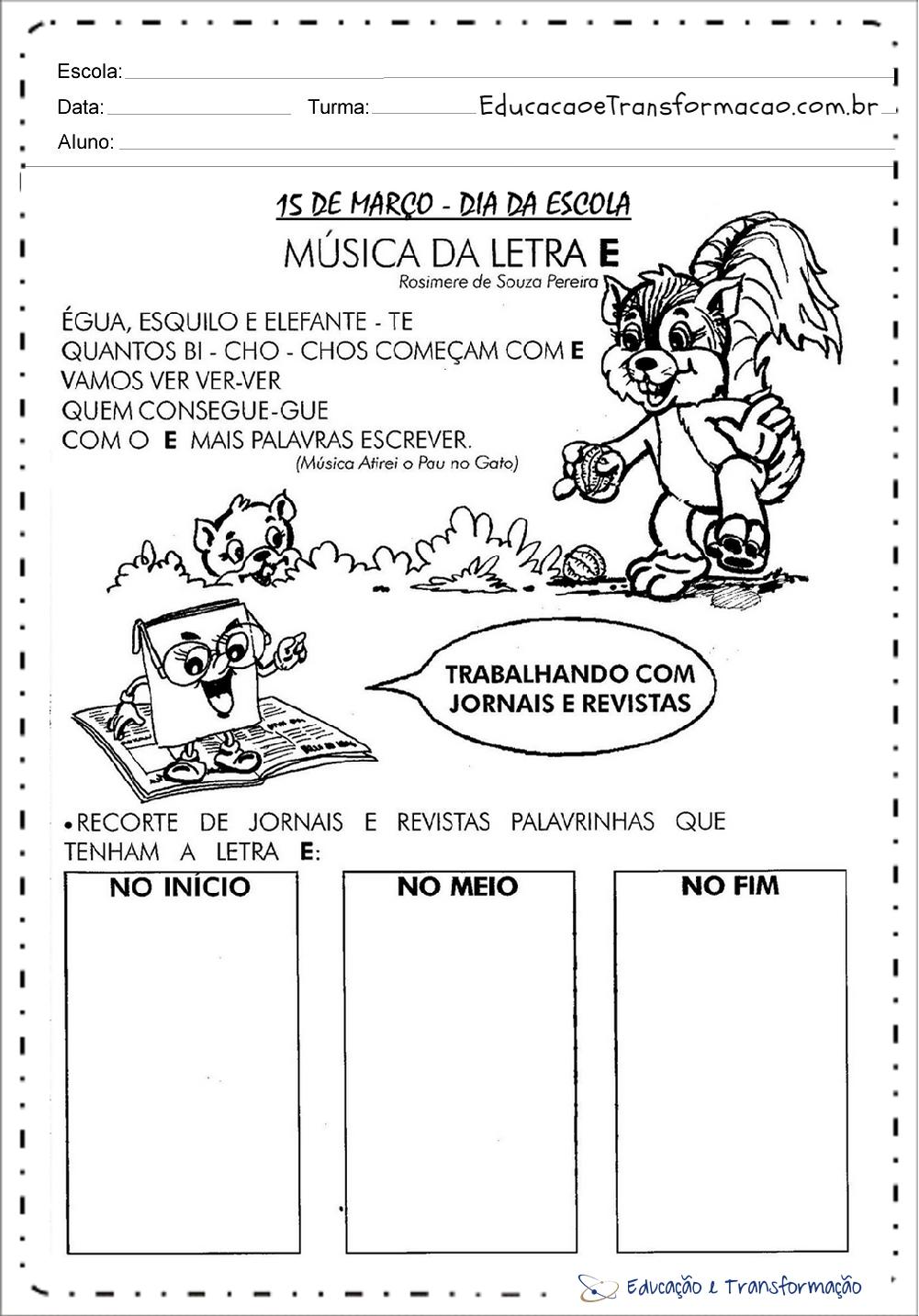 Populares Atividades Dia da Escola para imprimir e colorir - 15 de Março WV43