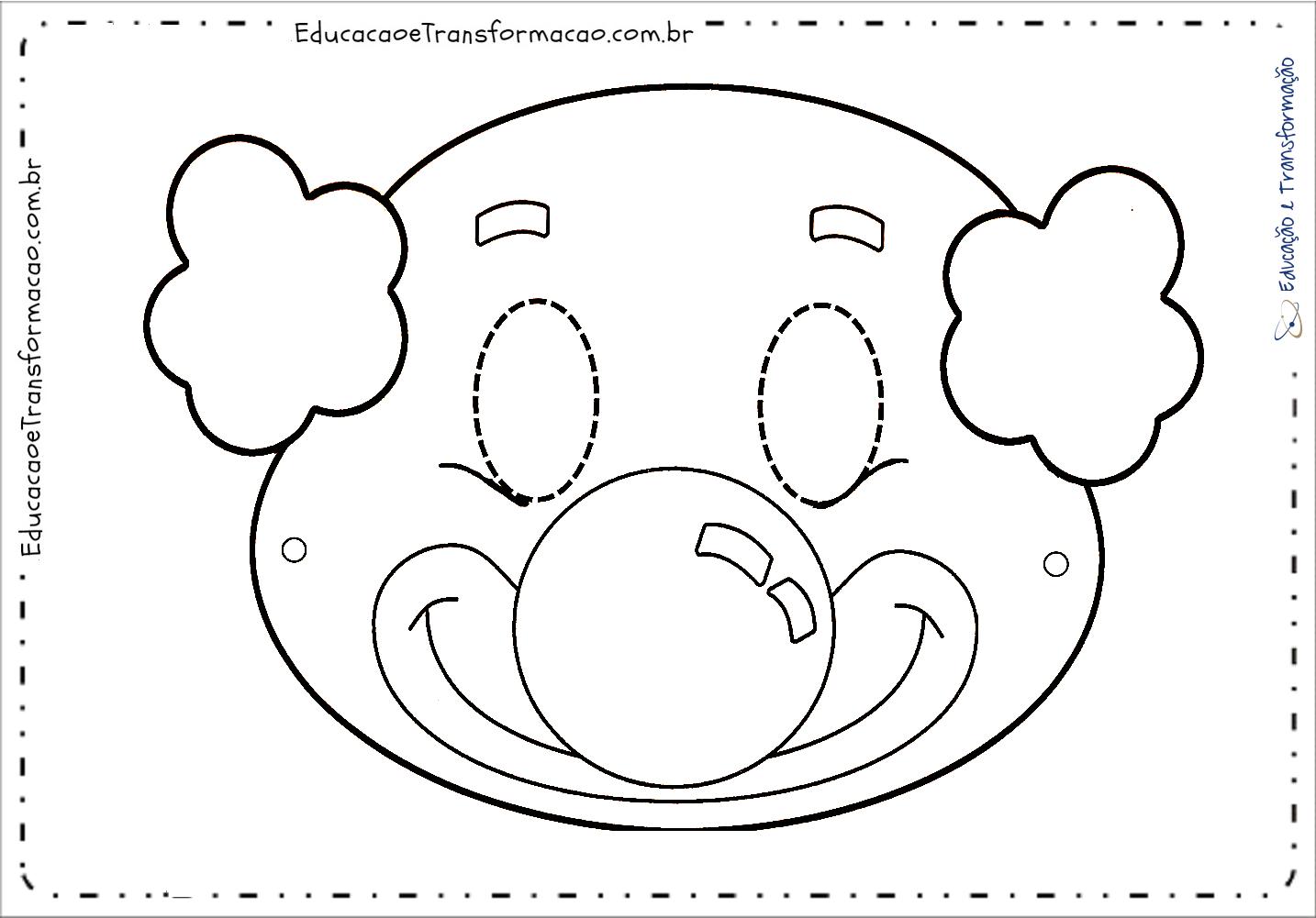 Atividades Dia do Circo - Máscara para imprimir