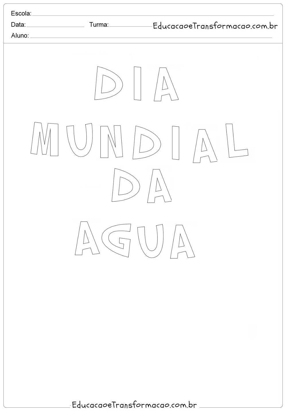 Cartaz Dia da Água