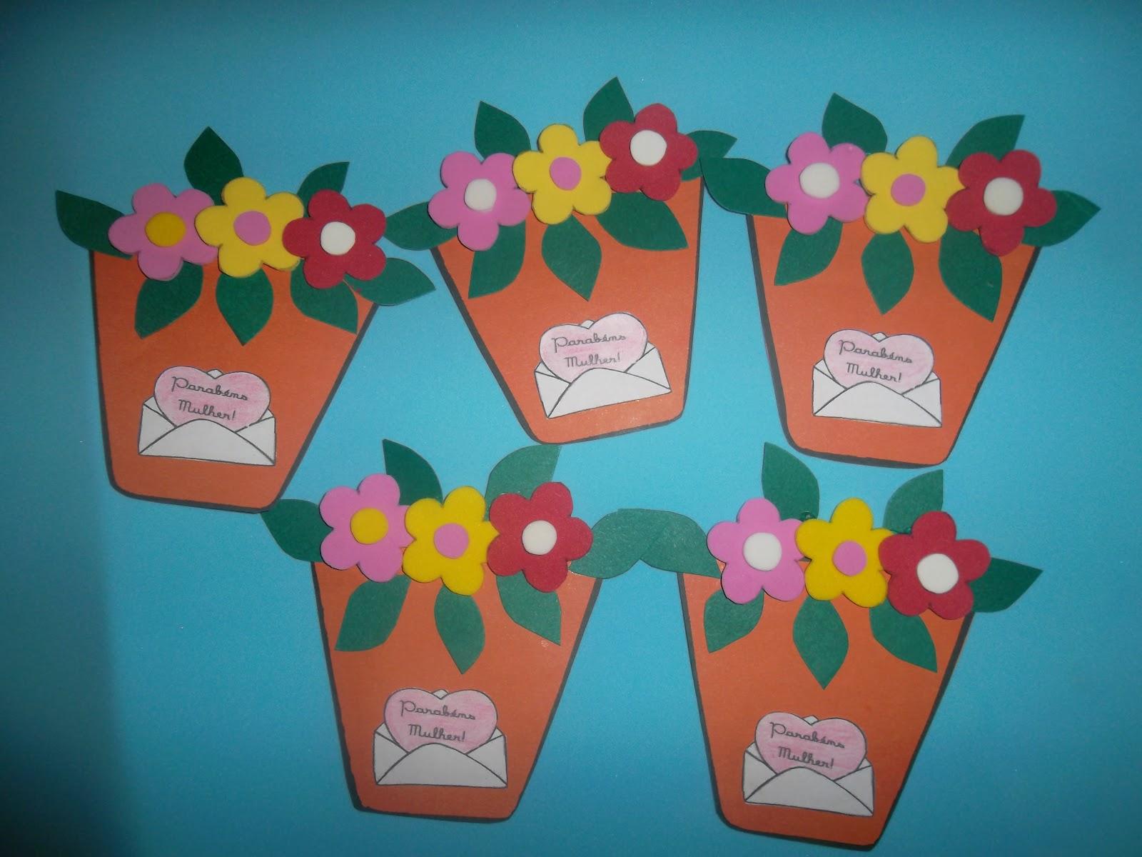 Lembrancinhas dia internacional da mulher com moldes – Vasinhos de Flores
