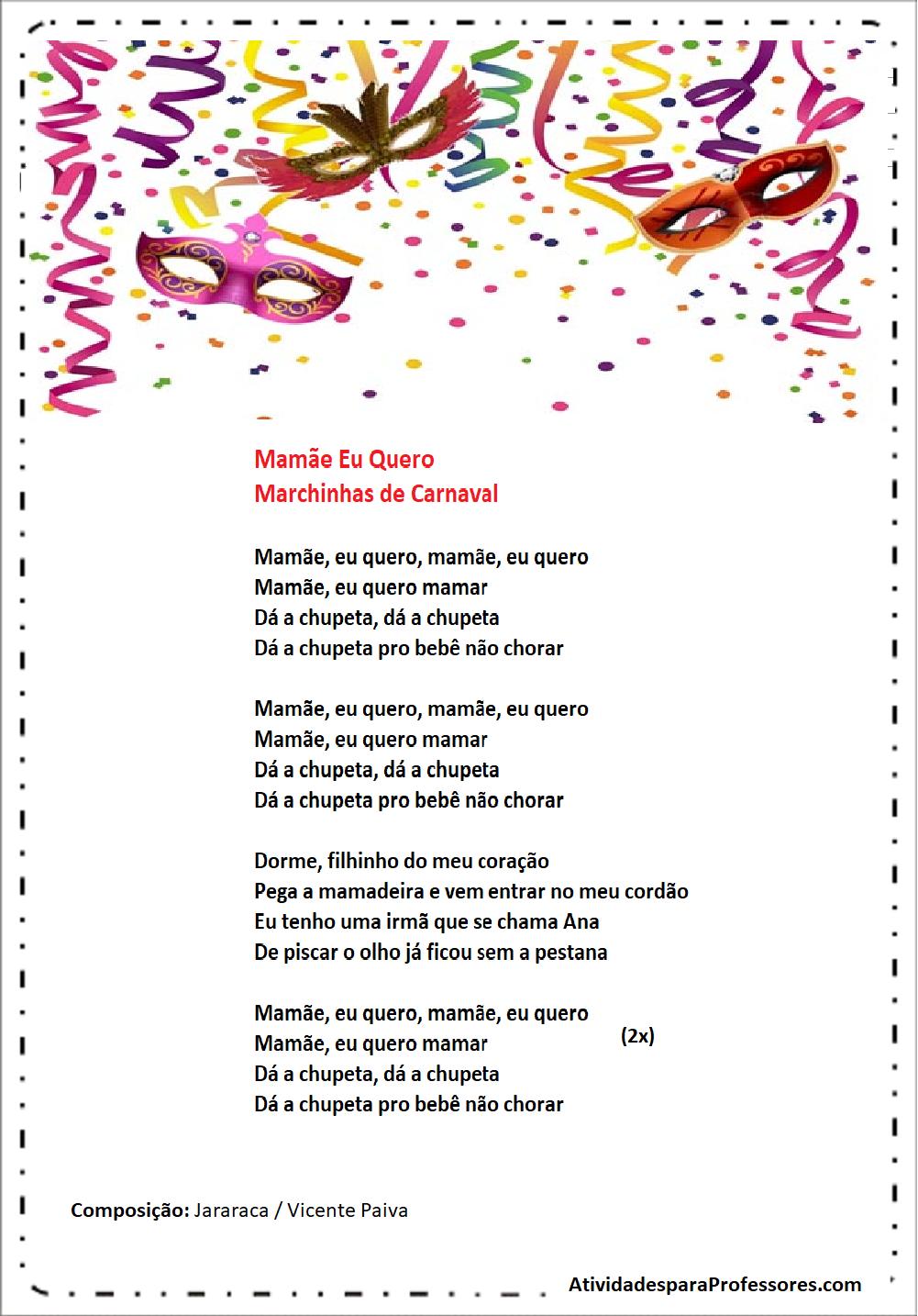 Marchinhas de carnaval - Letras de músicas de carnaval para imprimir