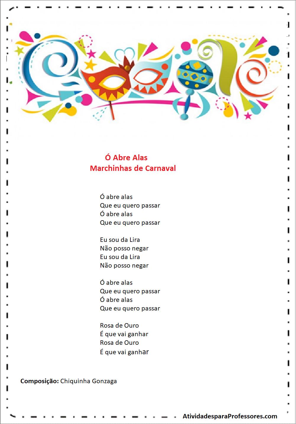 Letras de Marchinhas de carnaval para imprimir