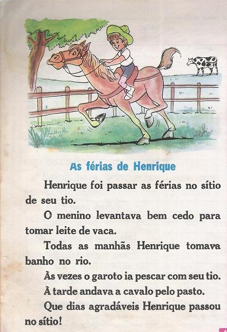 Texto para alfabetização Ilustrado – As ferias de henrique