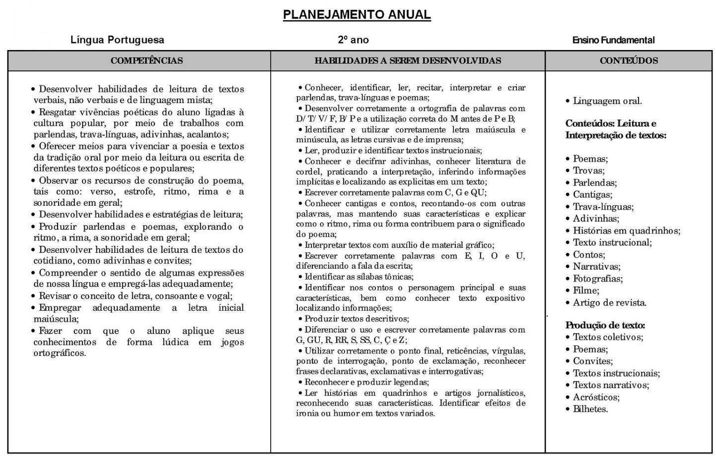 Planejamento anual 2 ano de Língua Portuguesa para imprimir