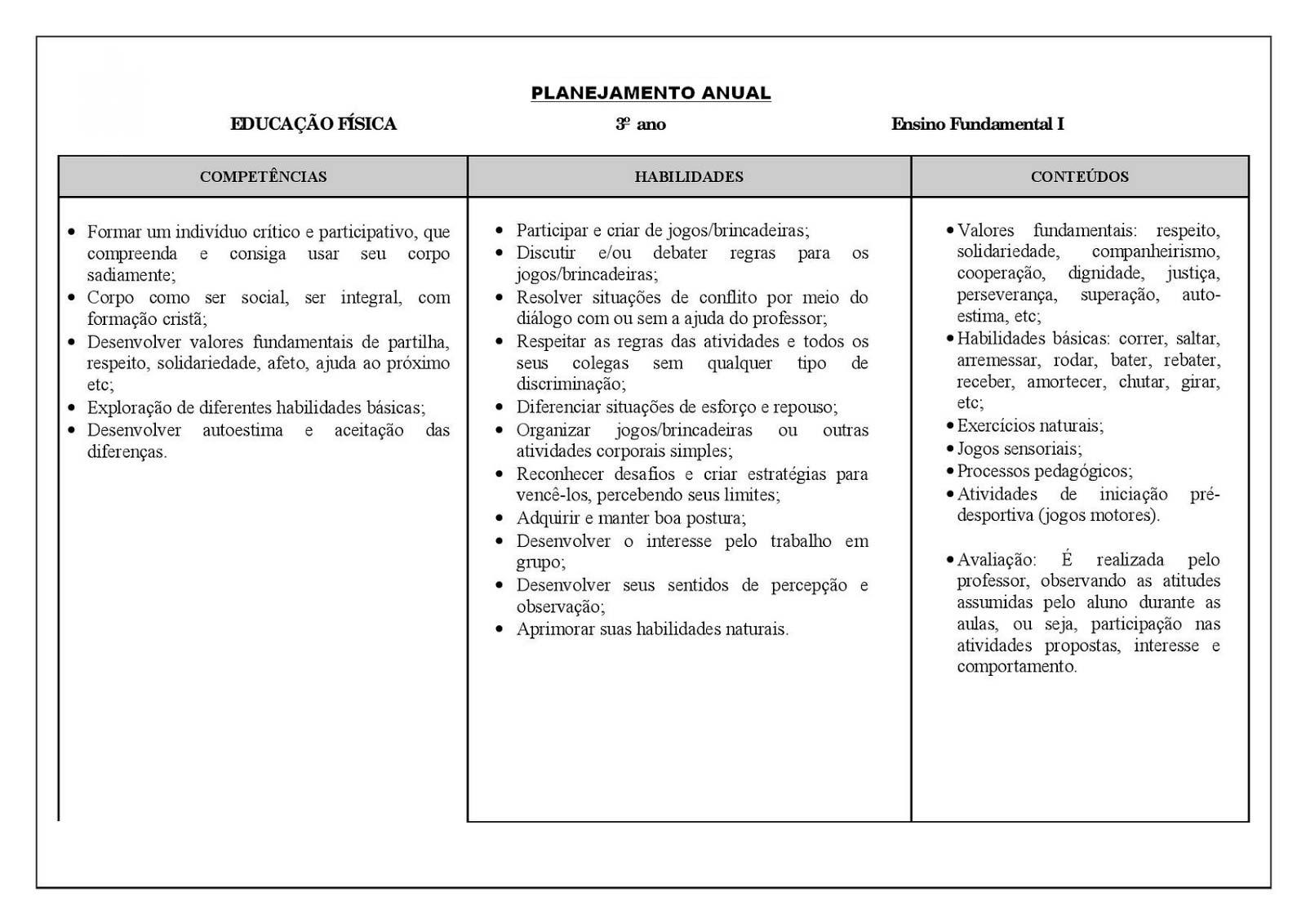 Planejamento anual 3 ano de Educação Física para imprimir