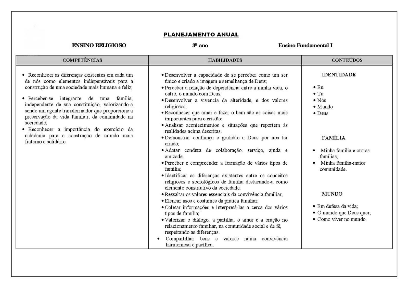 Excepcional Planejamento anual 3 ano de Ensino Religioso para imprimir  CZ24