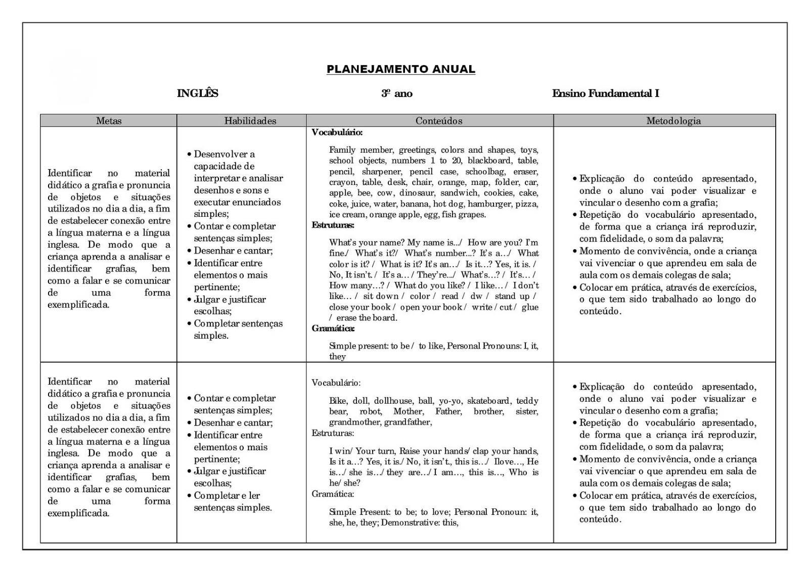 Planejamento anual 3 ano de Inglês para imprimir