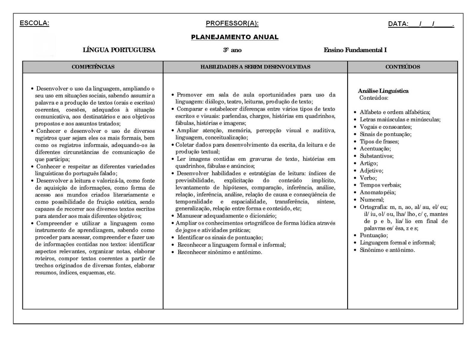 Planejamento anual 3 ano de Língua Portuguesa