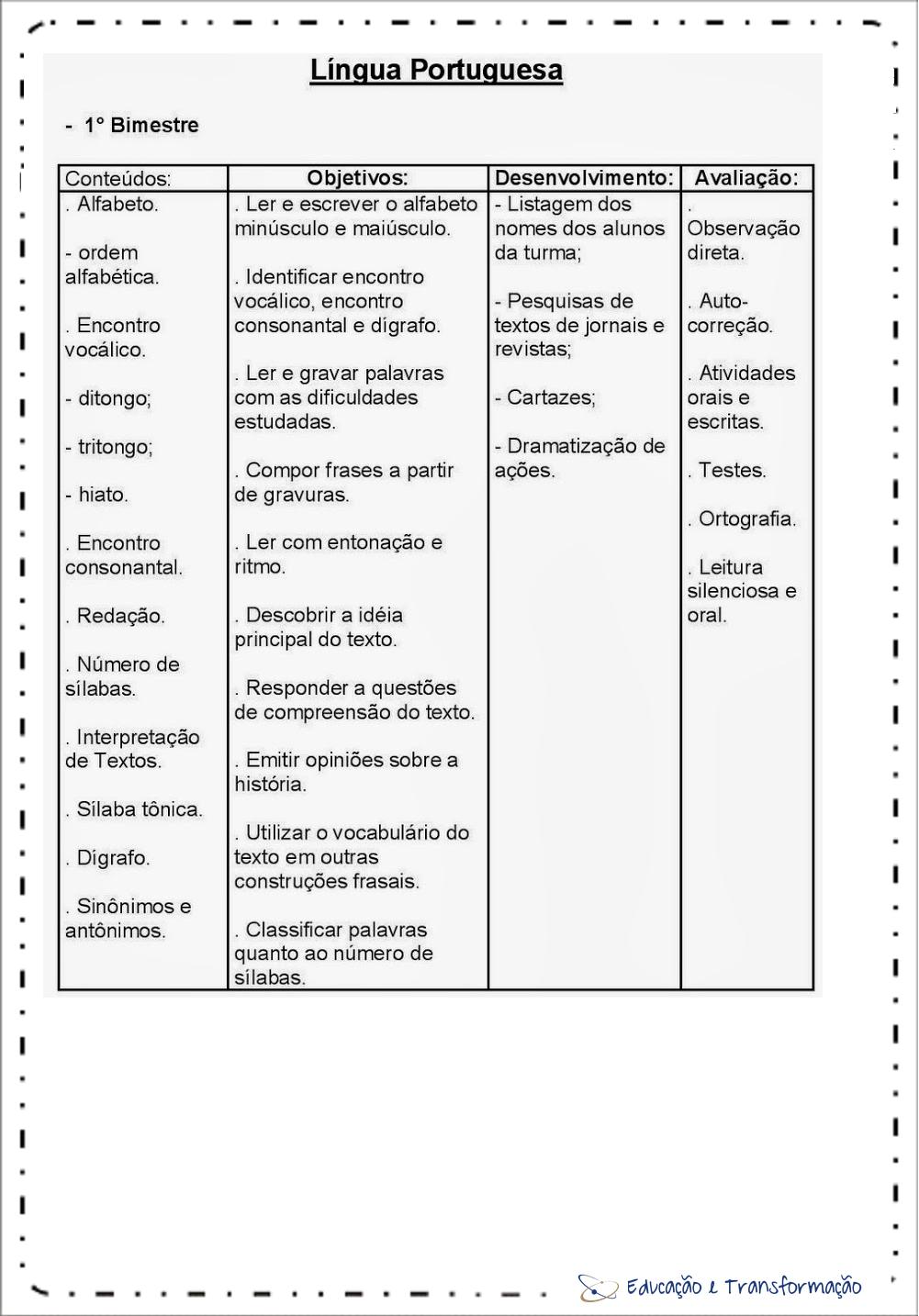 Planejamento anual 4 ano de Português 1º Bimestre