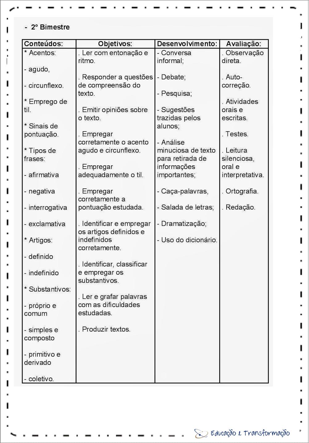 Planejamento anual 4 ano de Português 2º Bimestre