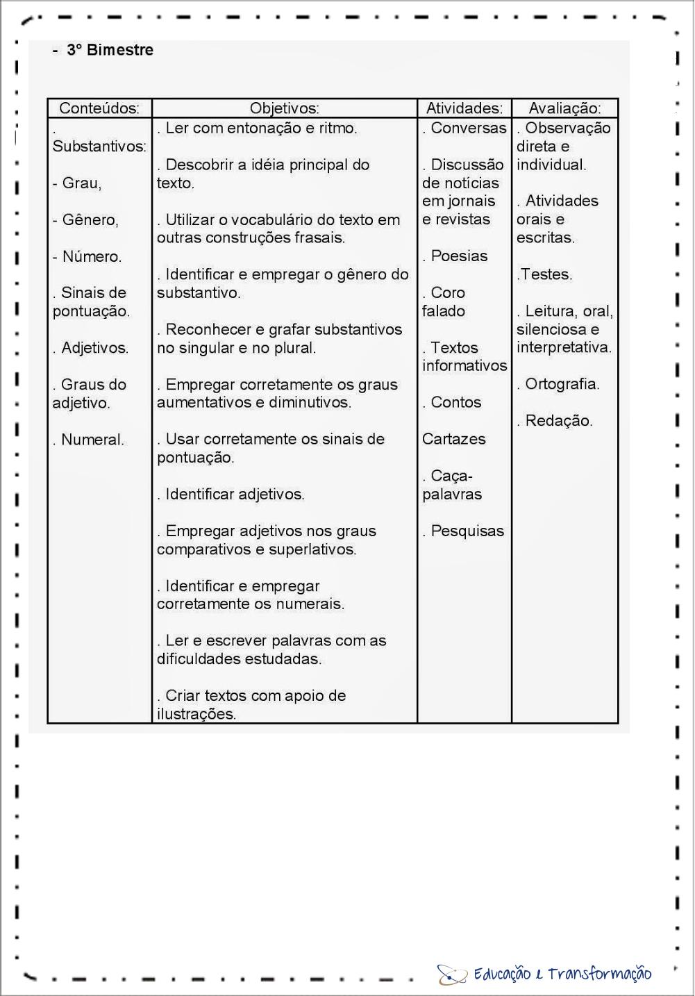 Planejamento anual 4 ano de Português 3º Bimestre