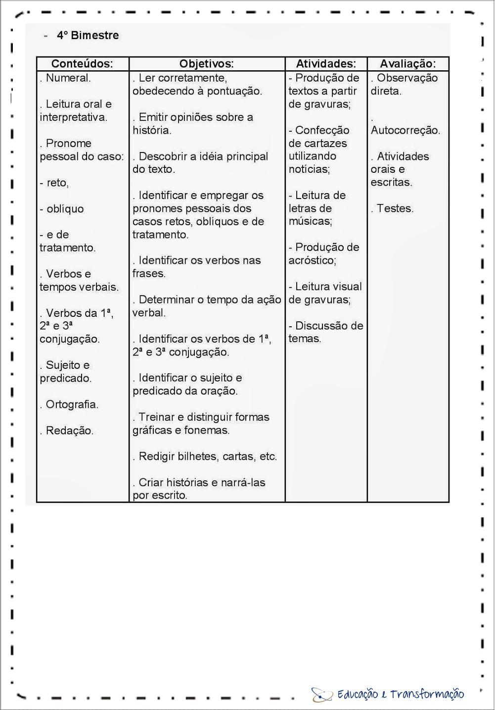 Planejamento anual 4 ano de Português 4º Bimestre
