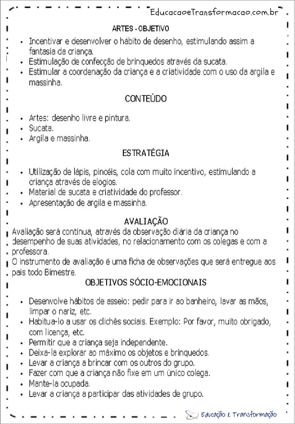 Muito Planejamento anual educação infantil - Planos de aula infantil em PDF AF07