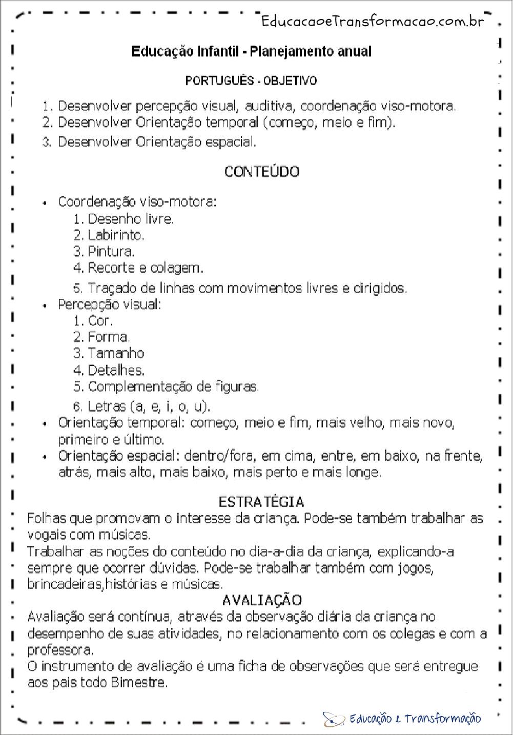 Planejamento anual educação infantil de Português