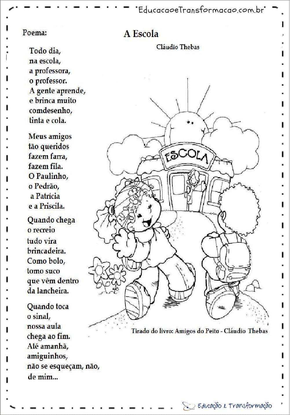 Poemas para o Dia da Escola - 15 de Março