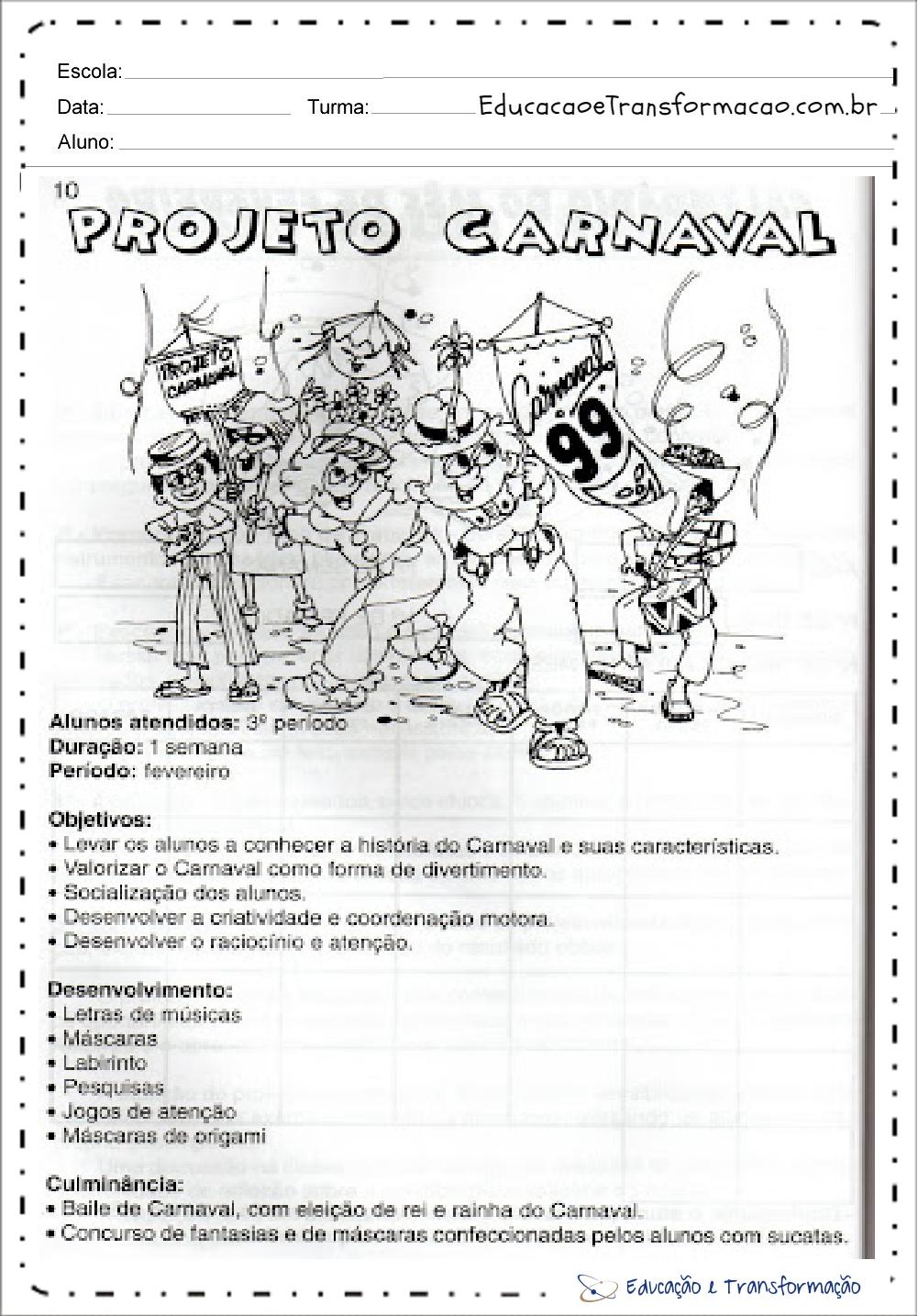 Top Projeto Carnaval Educação Infantil e Ensino Fundamental na escola YK69