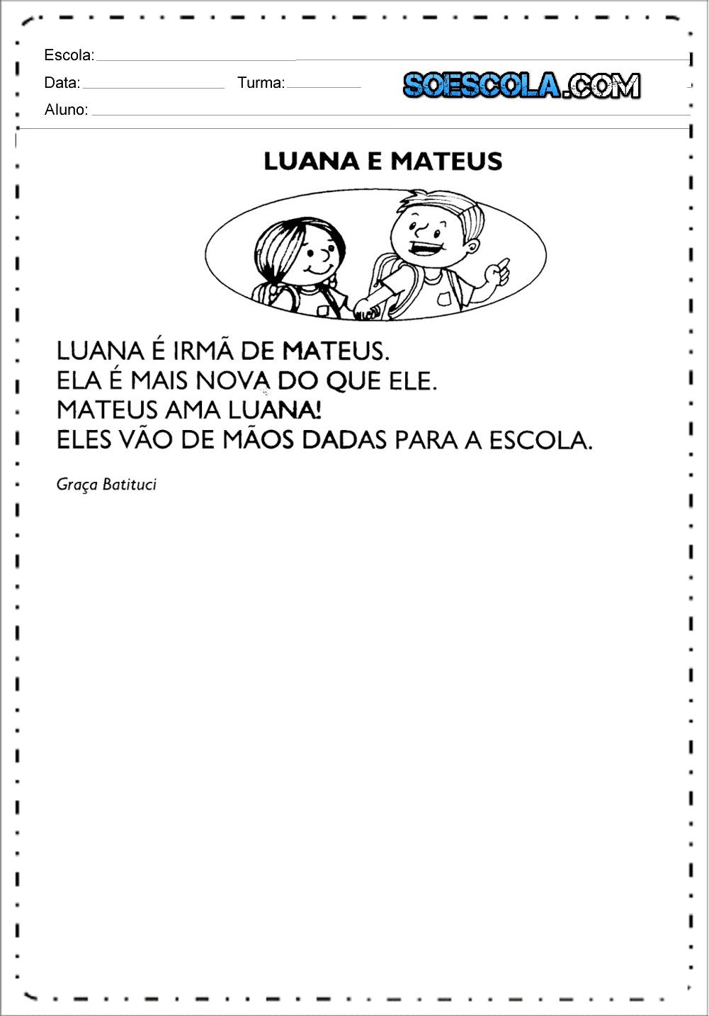 Pequenos textos para alfabetização - Textos curtos para leitura