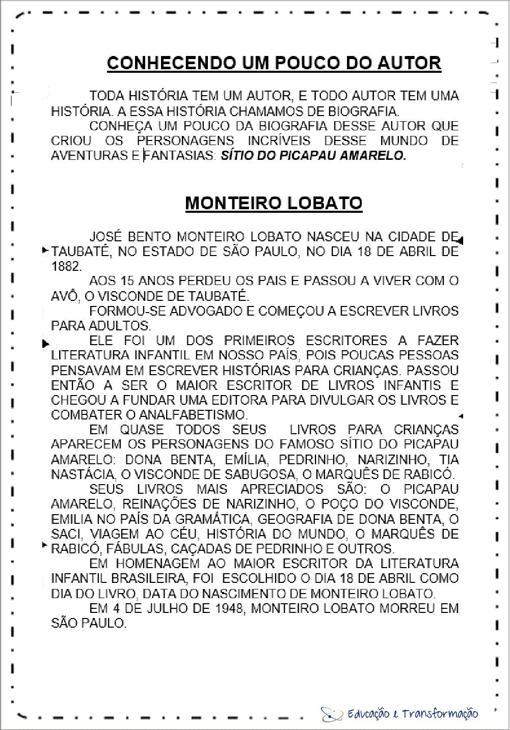 Atividades Dia do Monteiro Lobato -Pesquisa sobre Lobato