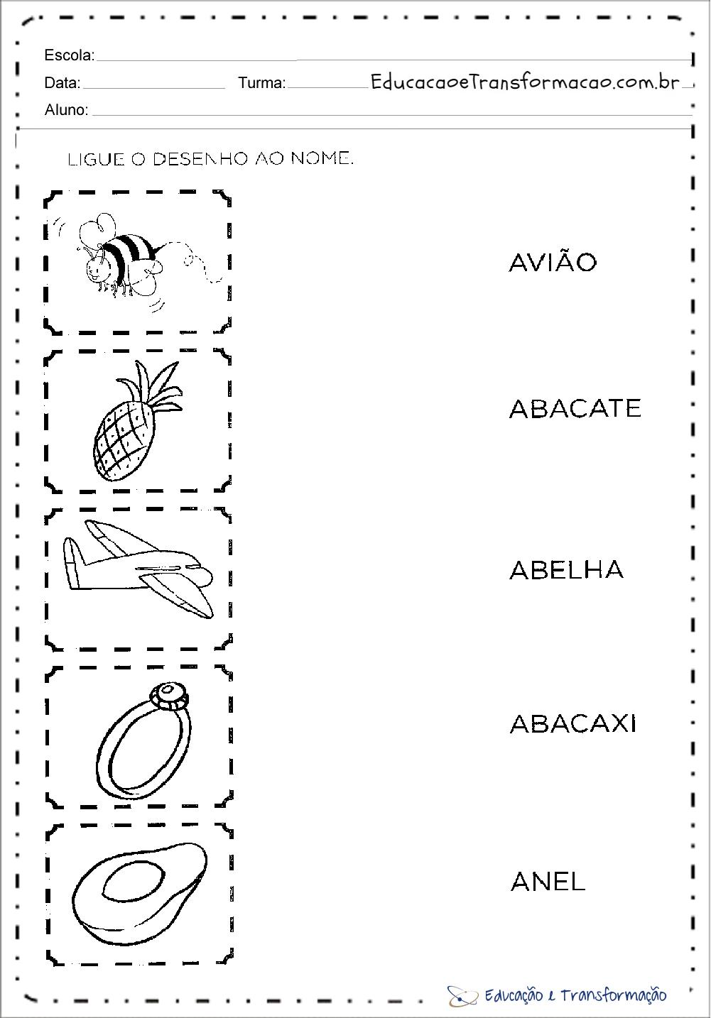 Atividades com a letra A para alfabetização