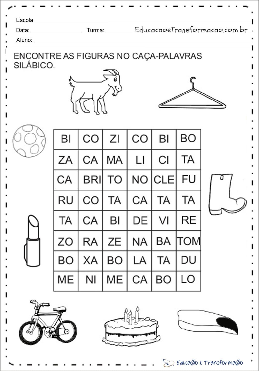 Atividades com a letra B – Caça Palavras