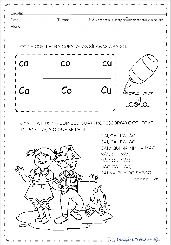 Well-known Atividades com a letra C - Copie a letra cursiva – Educação e  ZX23
