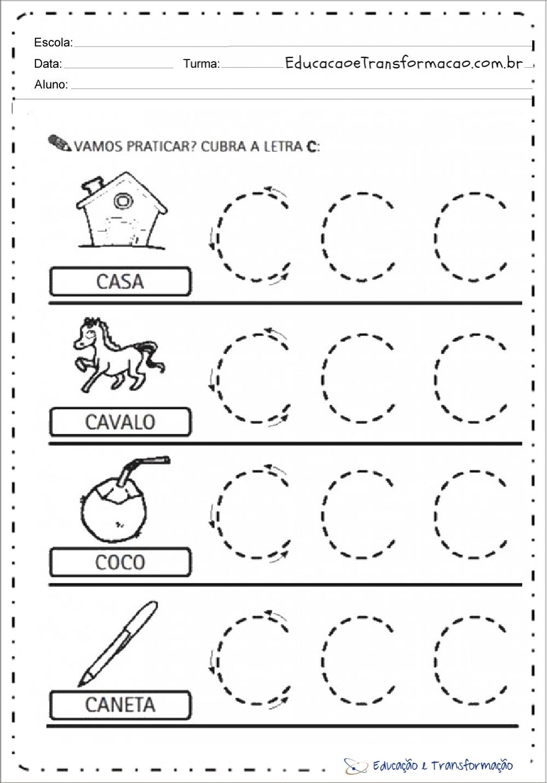 Atividades com a letra C – Cubra a letra C