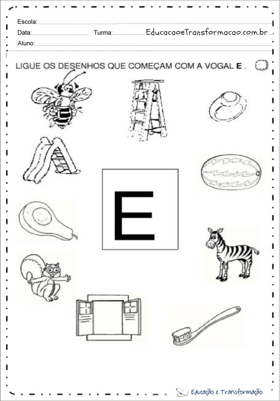 atividades com a letra e ligue os desenhos educação e transformação