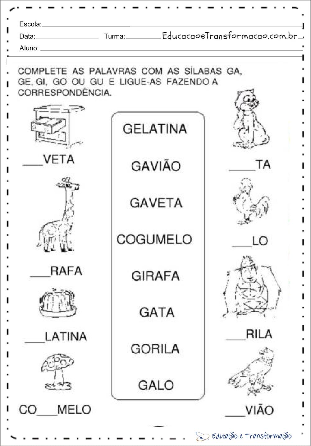 Amado Atividades com a letra G para alfabetização - Atividades Educativas QO22