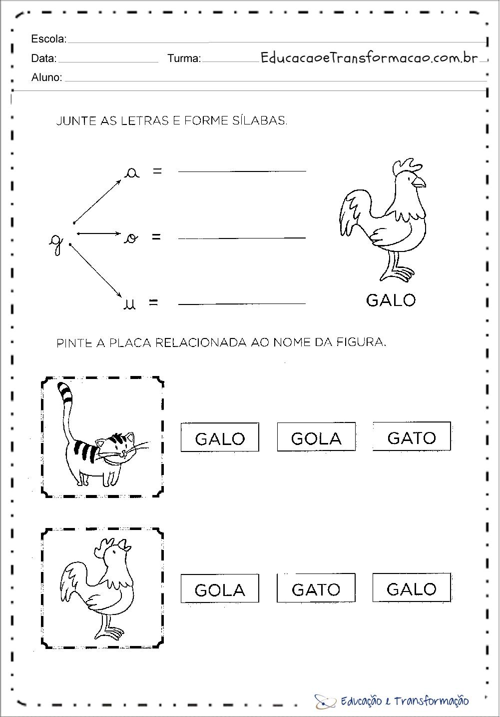 Atividades com a letra G – Forme palavras