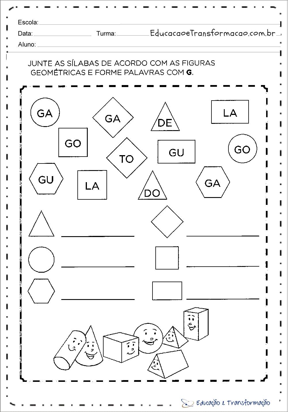Famosos Atividades com a letra G para alfabetização - Atividades Educativas AJ84