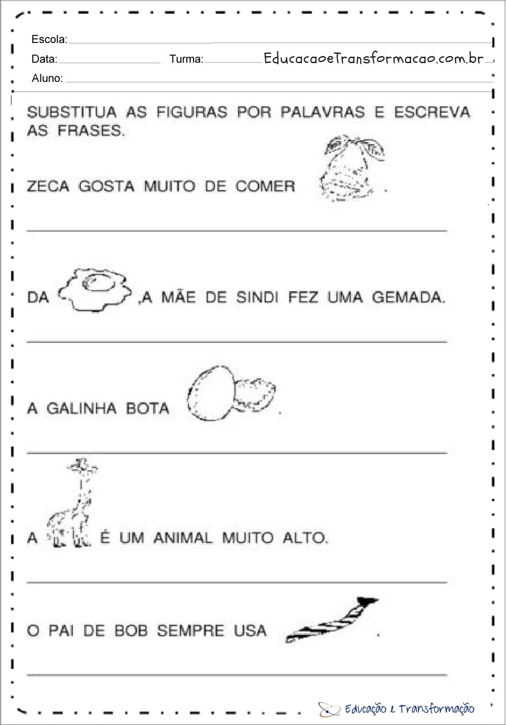 Atividades com a letra G – Substitua as figuras