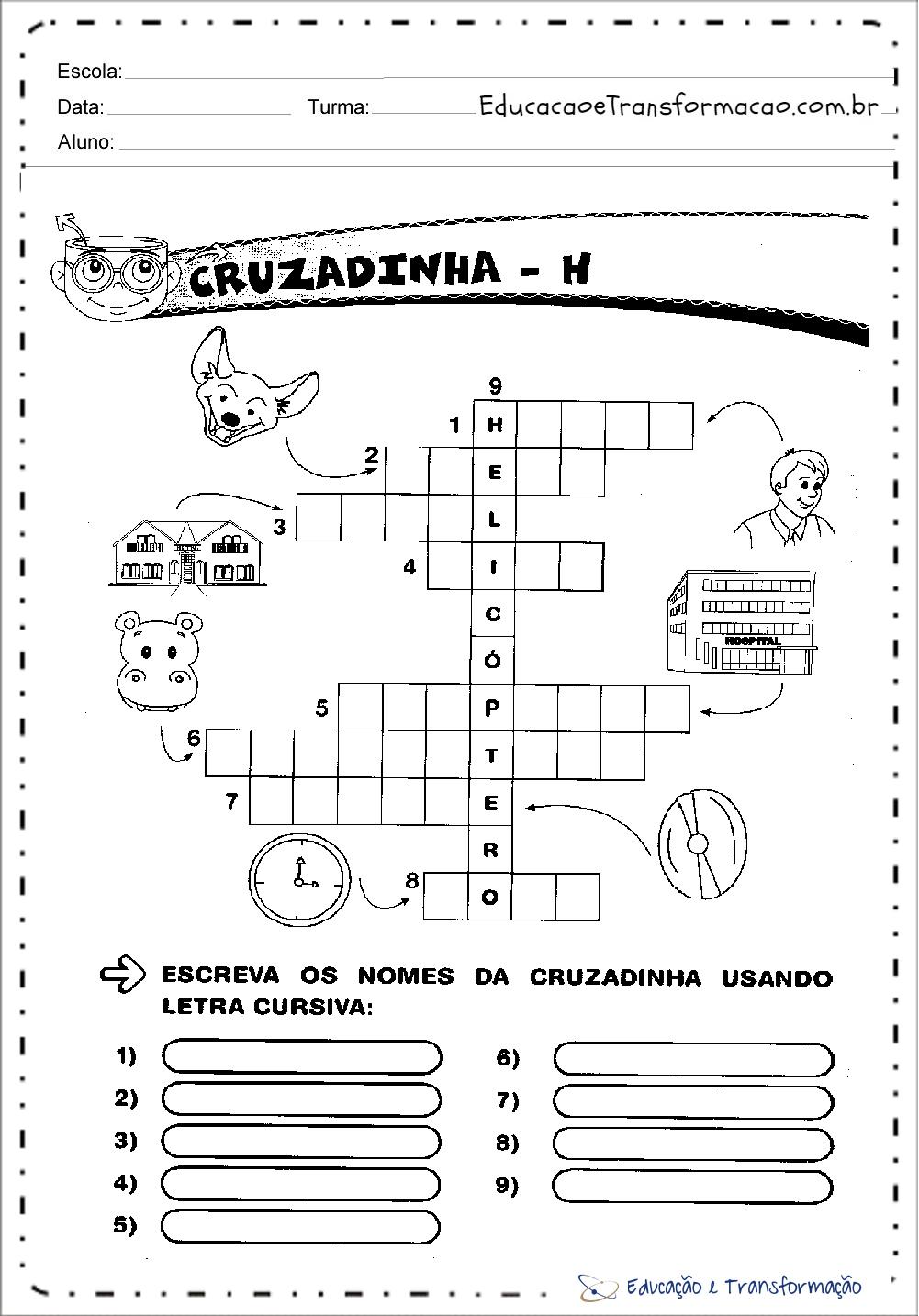 Atividades com a Letra H - Cruzadinha para imprimir