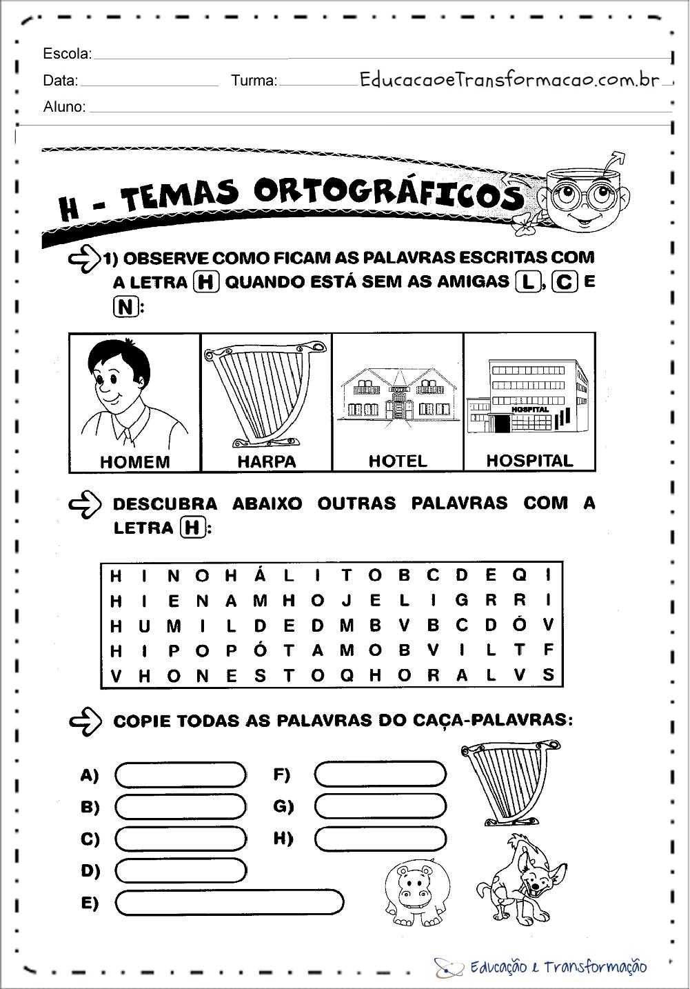Atividades com a Letra H para alfabetização