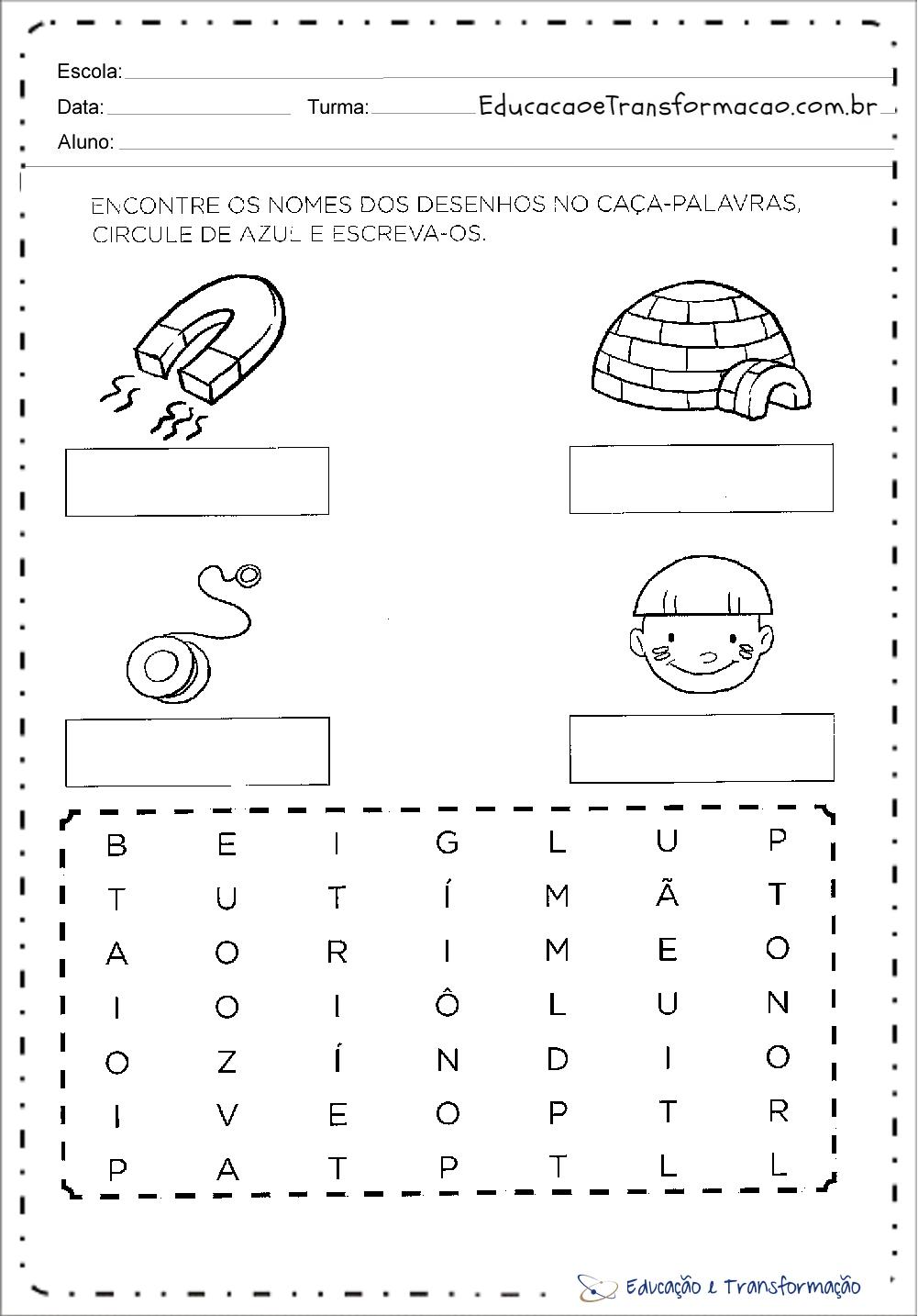 Atividades com a letra I – Encontre os Nomes