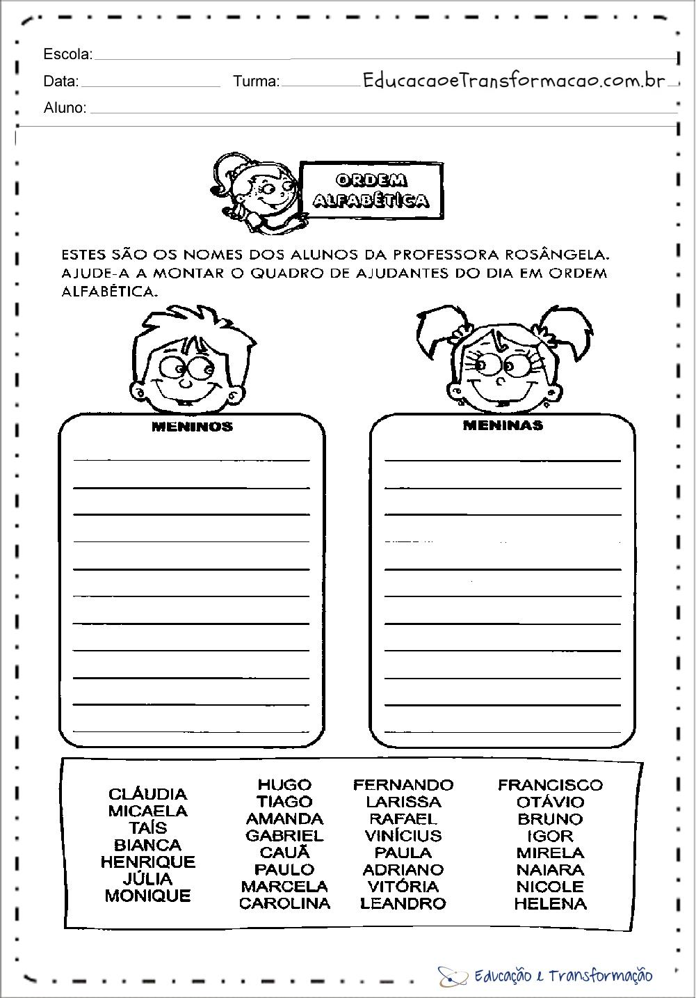 Atividades com Ordem Alfabética – Ajudante do Dia