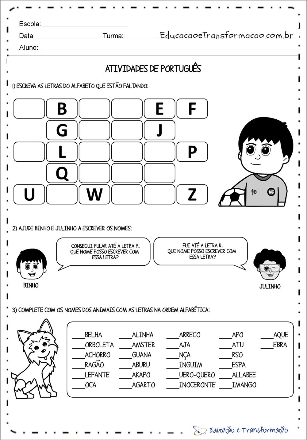 Atividades com Ordem Alfabética