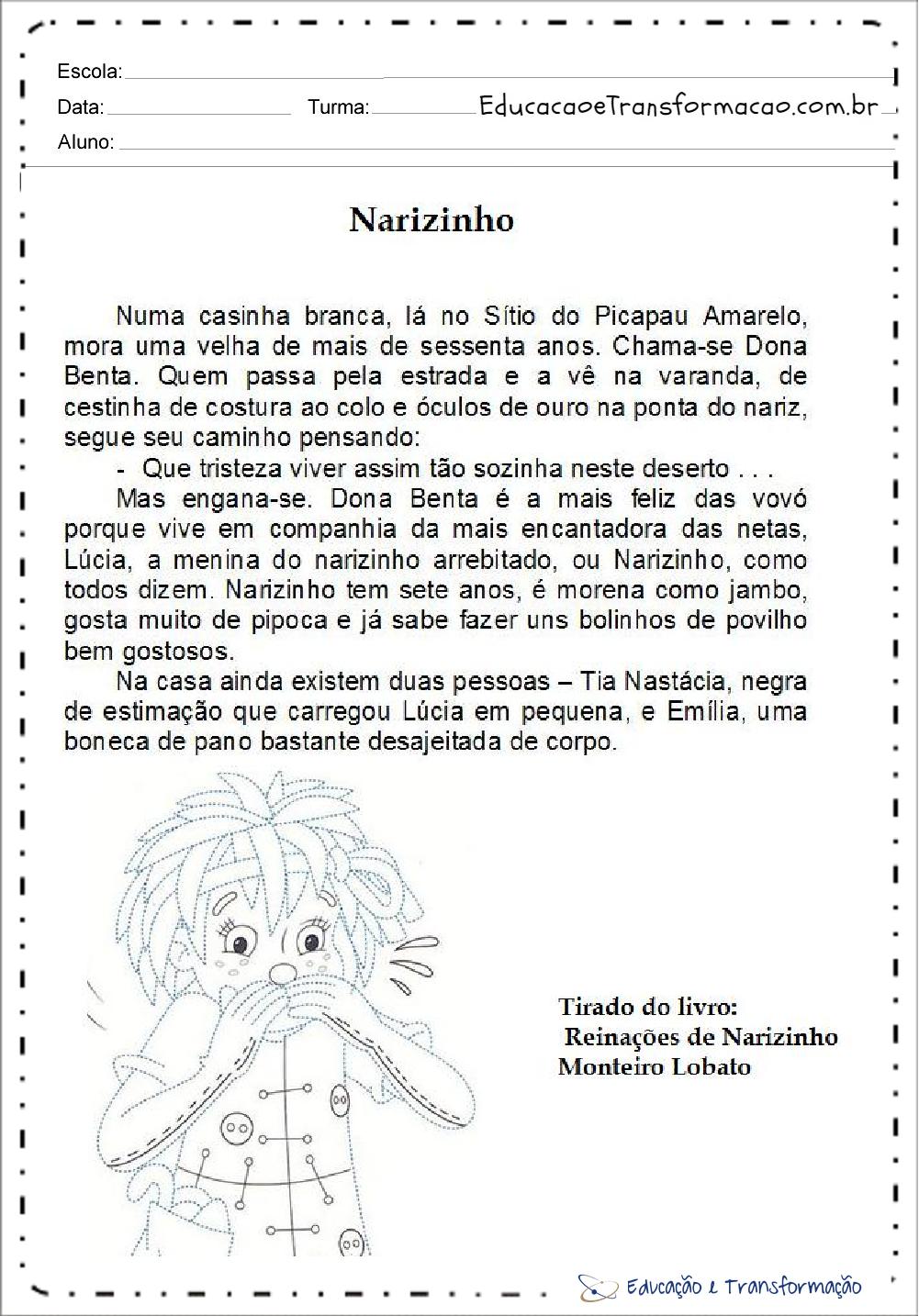 Atividades de Interpretação de Texto Dia do Livro – Narizinho