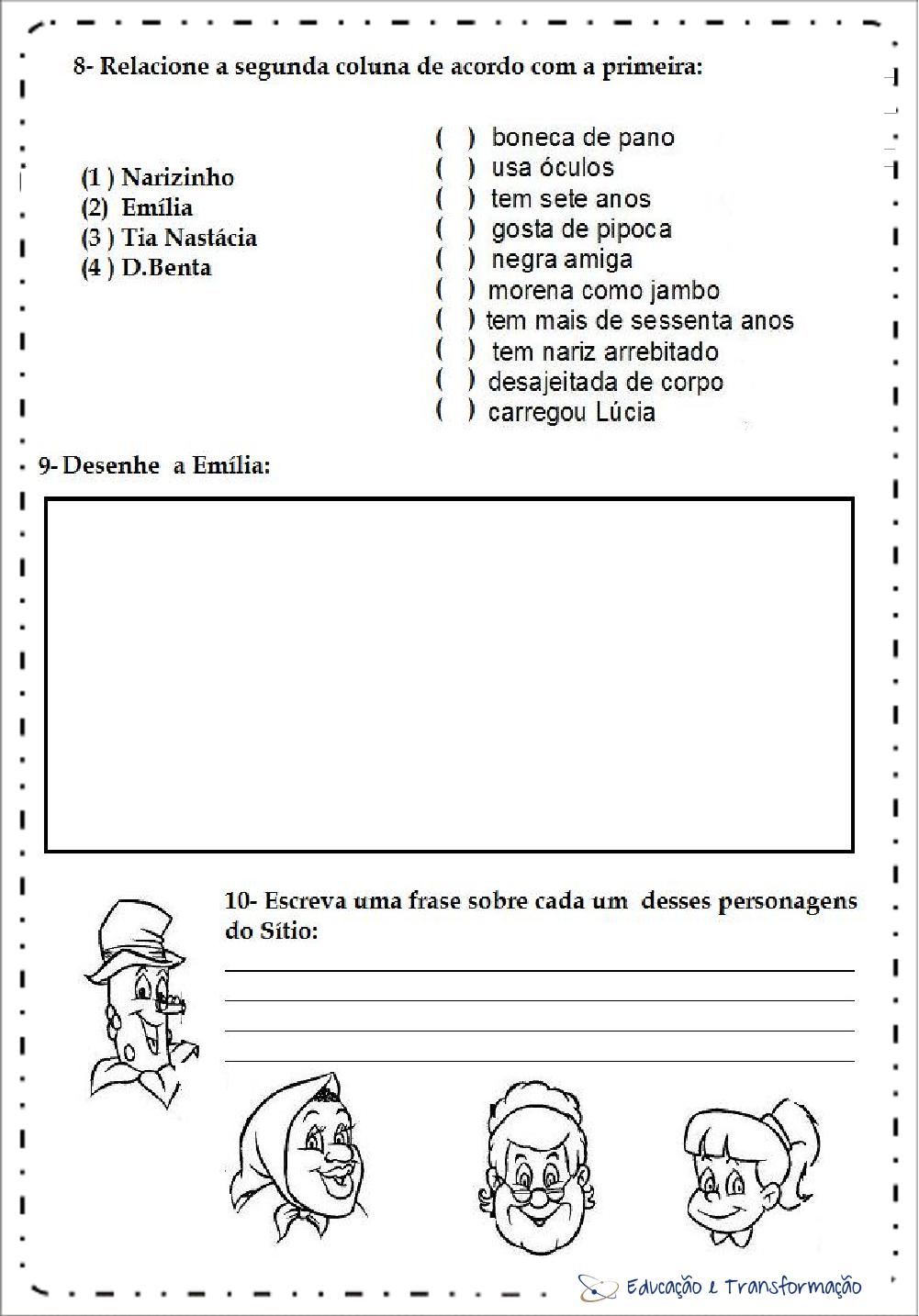 Atividades de Interpretação de Texto Dia do Livro - Narizinho