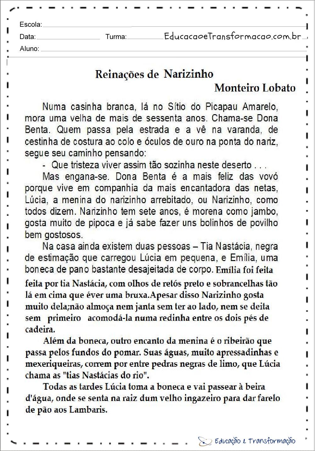 Atividades de Interpretação de Texto Dia do Livro: Reinações de Narizinho