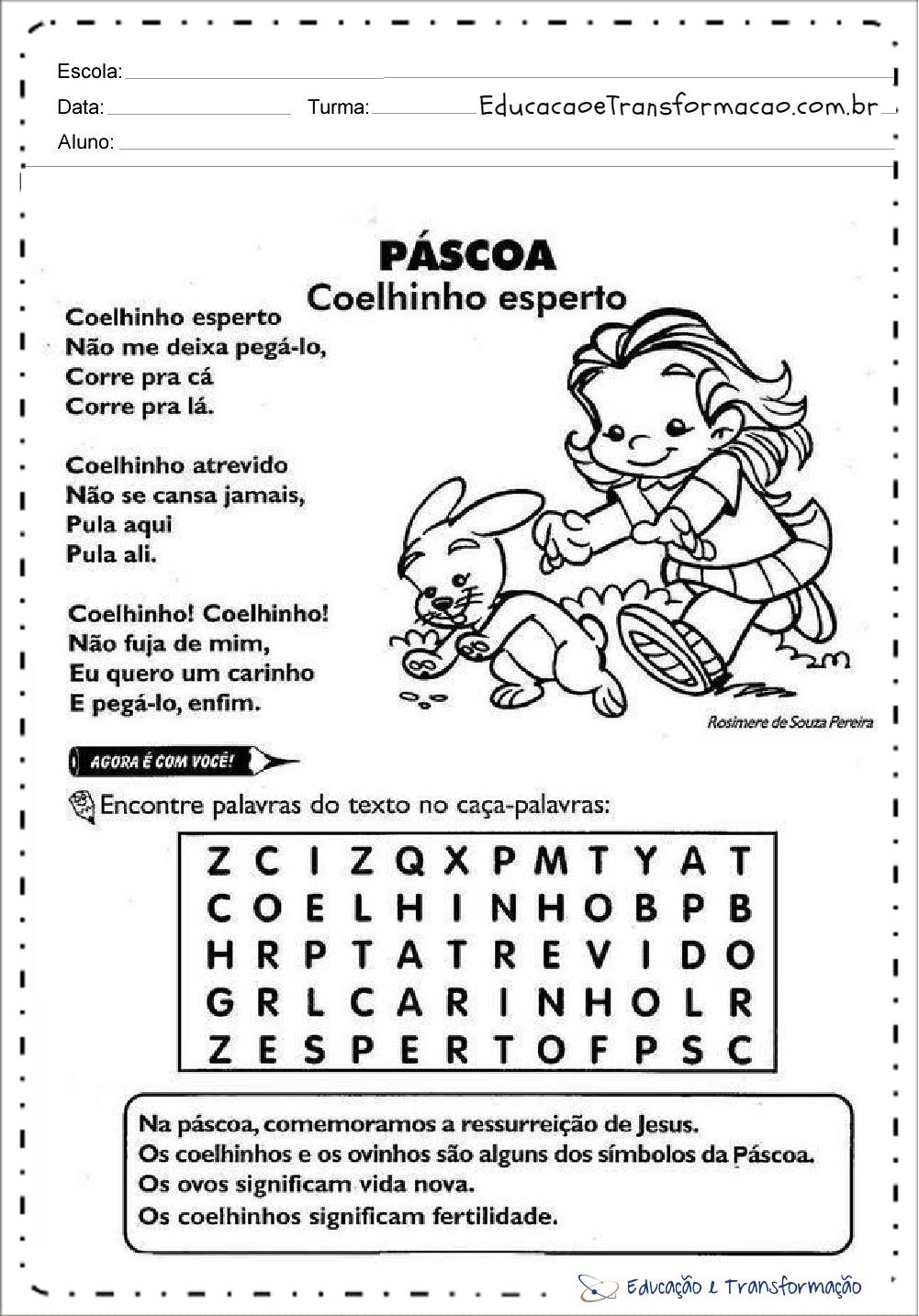 Atividades de Páscoa para Ensino Fundamental - Encontre palavras