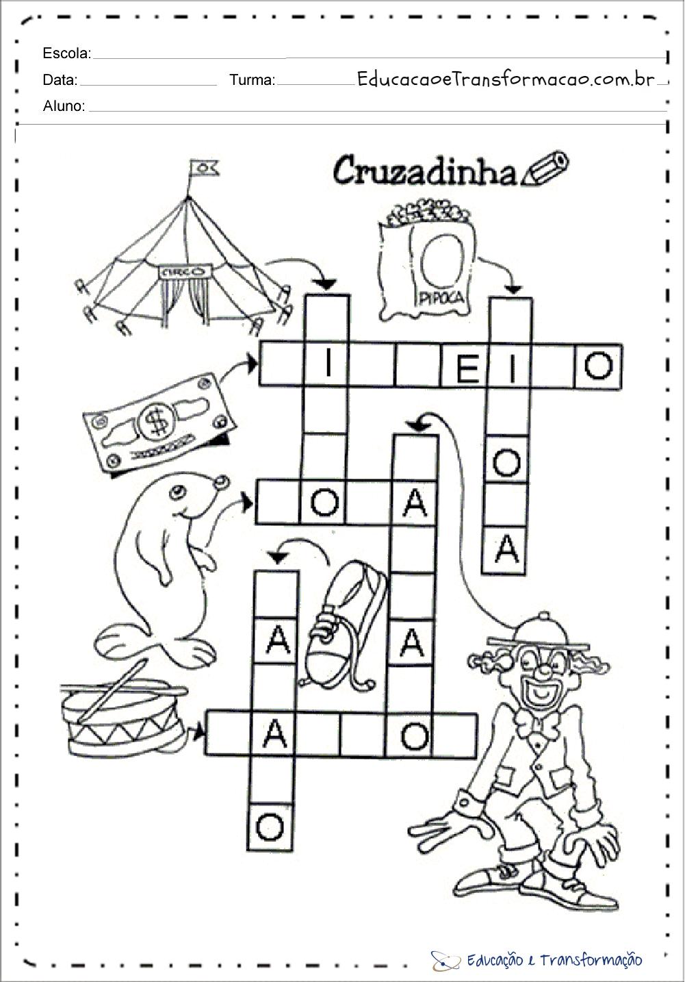 Atividades Dia do Circo para Educação Infantil - Cruzadinha