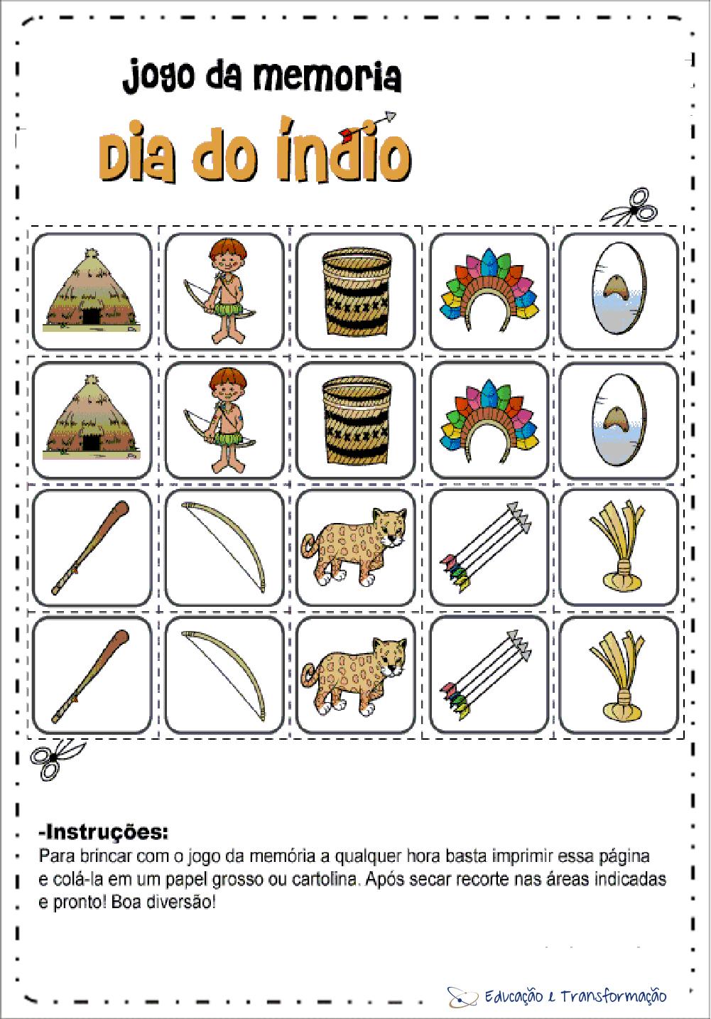 Atividades Dia do Índio para Educação Infantil - Jogo da Memória